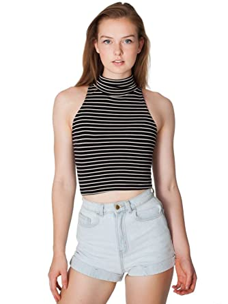 1d56e918b0b7c American Apparel Stripe Cotton Spandex Jersey Sleeveless Turtleneck Crop  Top - Black Natural Stripe   XS  Amazon.co.uk  Clothing