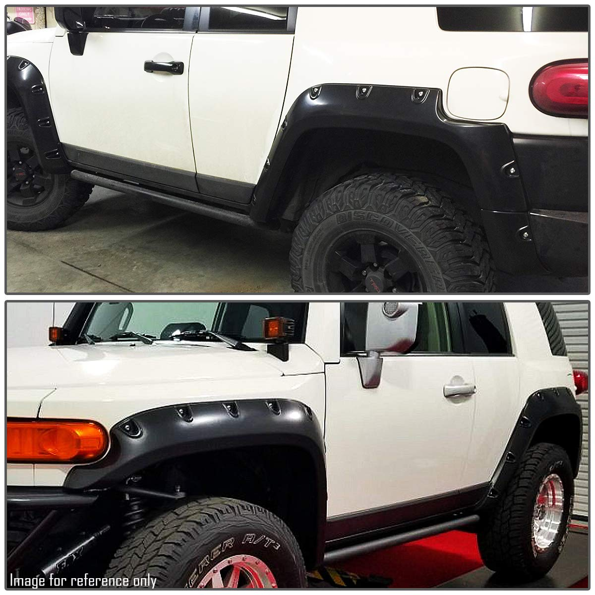 Glossy Bump Texture Wheel Fender Flares For 07-14 FJ Cruiser 4Pcs Pocket Riveted Style