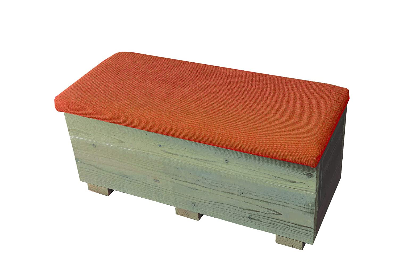 OLD ASHIBA(足場板古材)収納ベンチ クッションタイプ 幅900mm×奥行400mm×高さ415mm 屋内用灰緑(はいりょく) B07GXGTF2G 灰緑(はいりょく) クッションカラー:橙