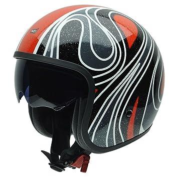 NZI 050287G743 Rolling Seventies Casco de Moto, Dibujo Psicodélico Blanco, Negro y Rojo,