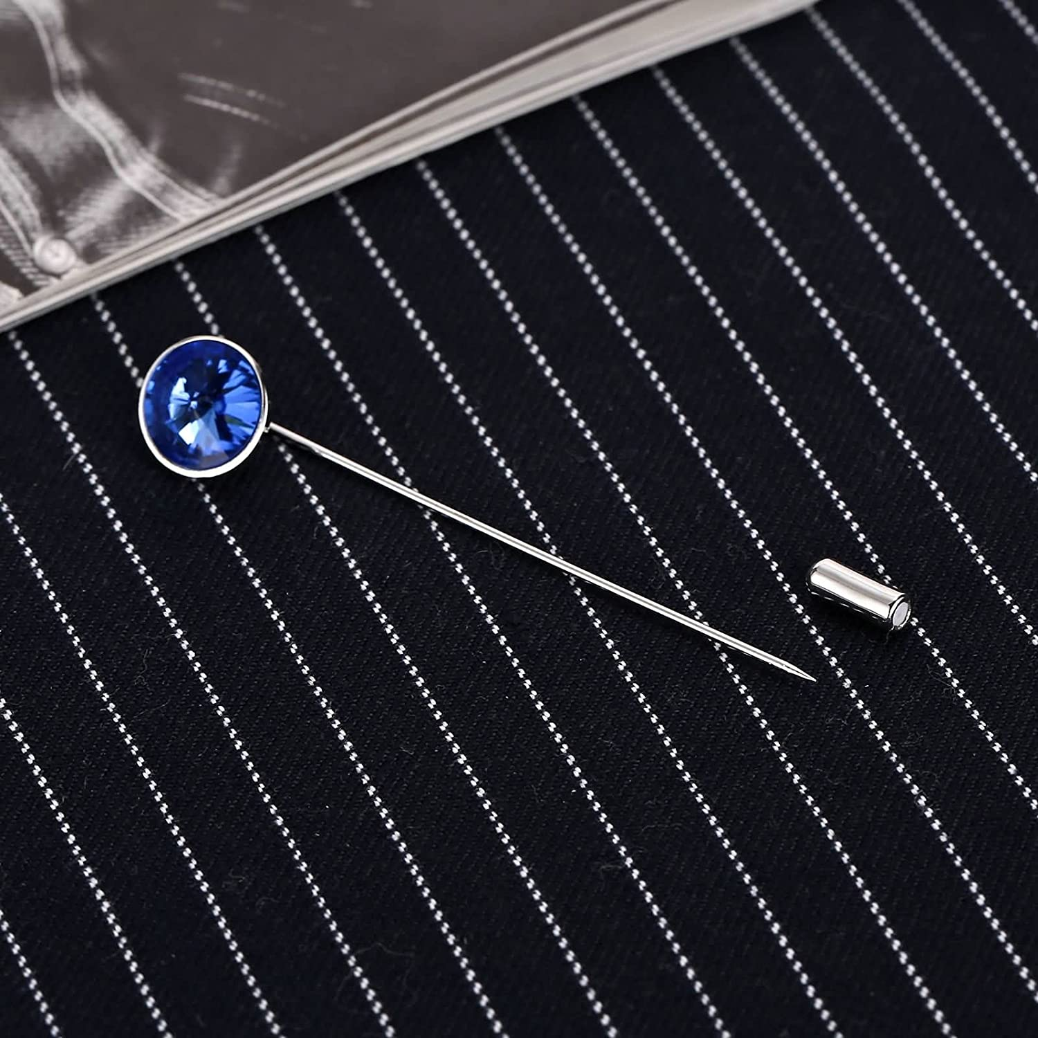 Epinki Stainless Steel Womens Mens Brooch for Suit Lapel Stick Pin Round Crystal Blue-with Gift Box