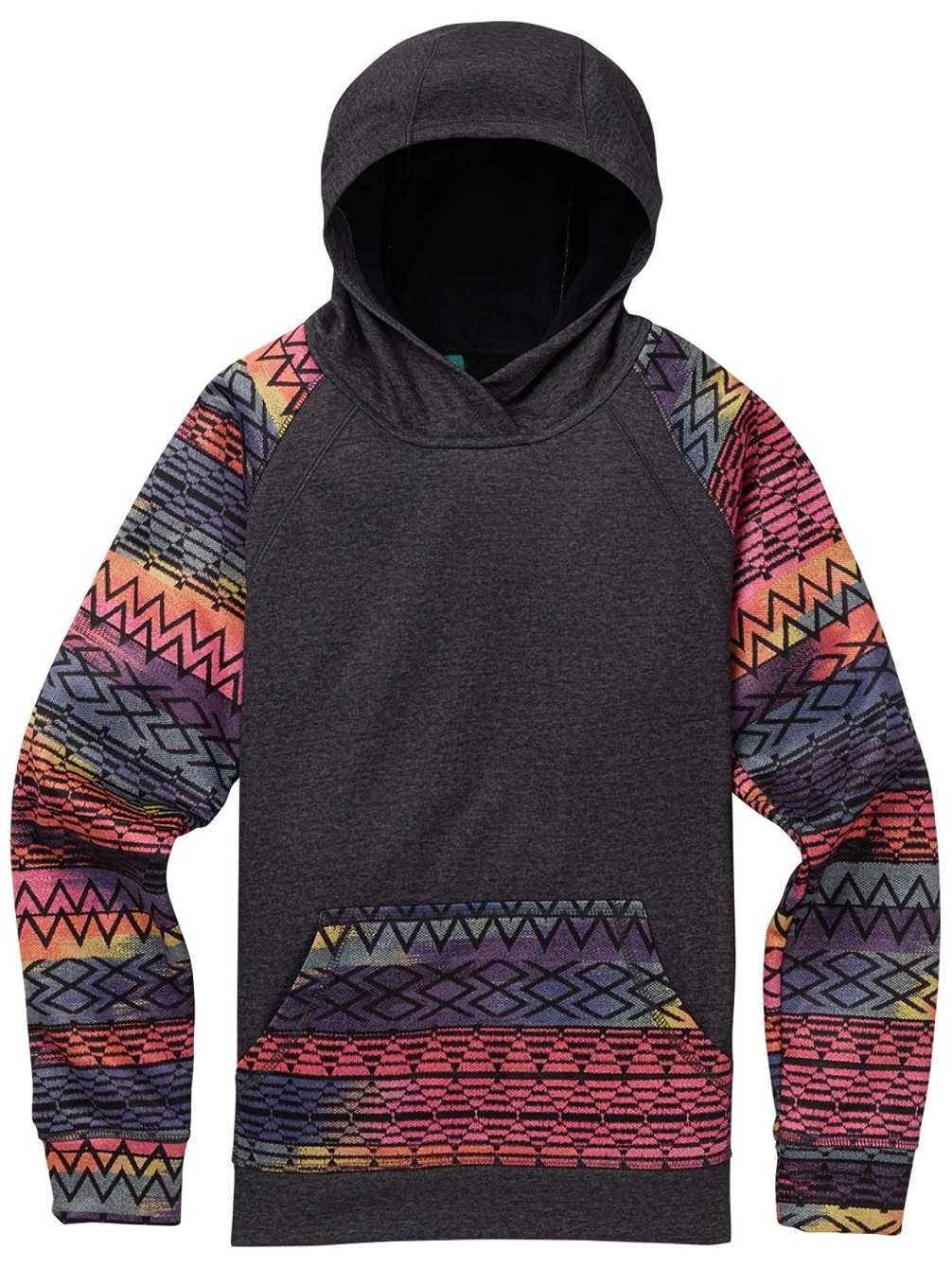 Burton Girls Crown Bonded Pull Over, Heather Black/Technicat Dream, Size Large (16)