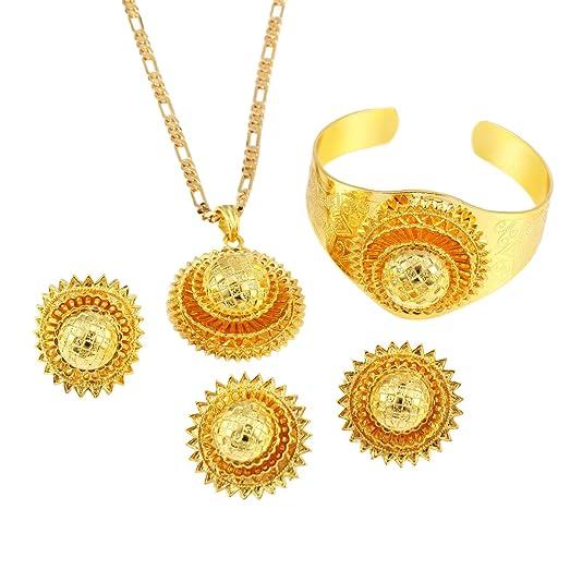 Amazoncom Ethiopian Set Jewelry Gold Plated Habesha Sets Wedding