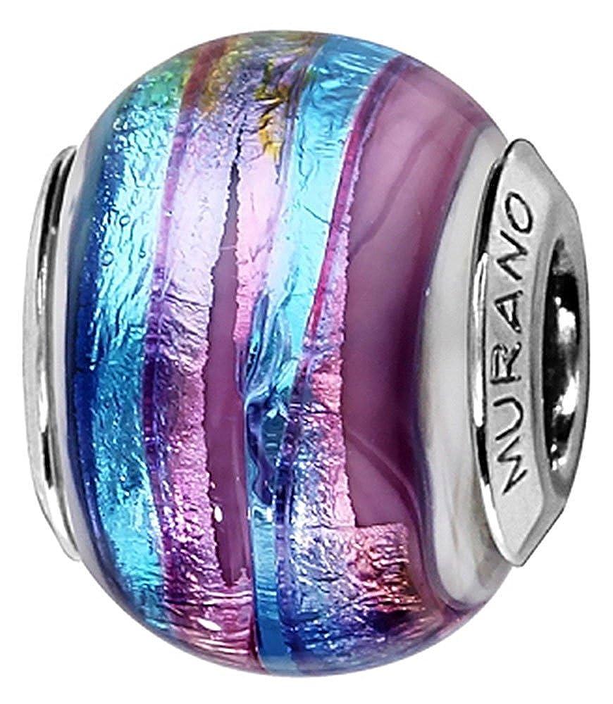 C05161 Charm Femme Argent rhodi/é et Verre de Murano Thabora Bleu et violet