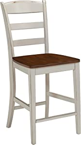 Home Styles Solid Wood Counter Bar Stool 24 inch High, Monarch Antique White with Distressed Oak Finish, Contoured Seat, Curved Legs, Shabby Chic Style