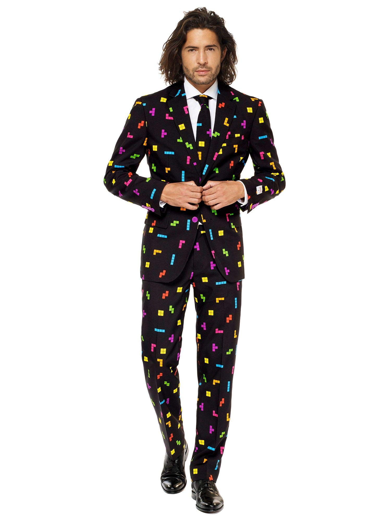 Mens Tetris Suit and Tie By Opposuits, Tetris, 38 by OppoSuits