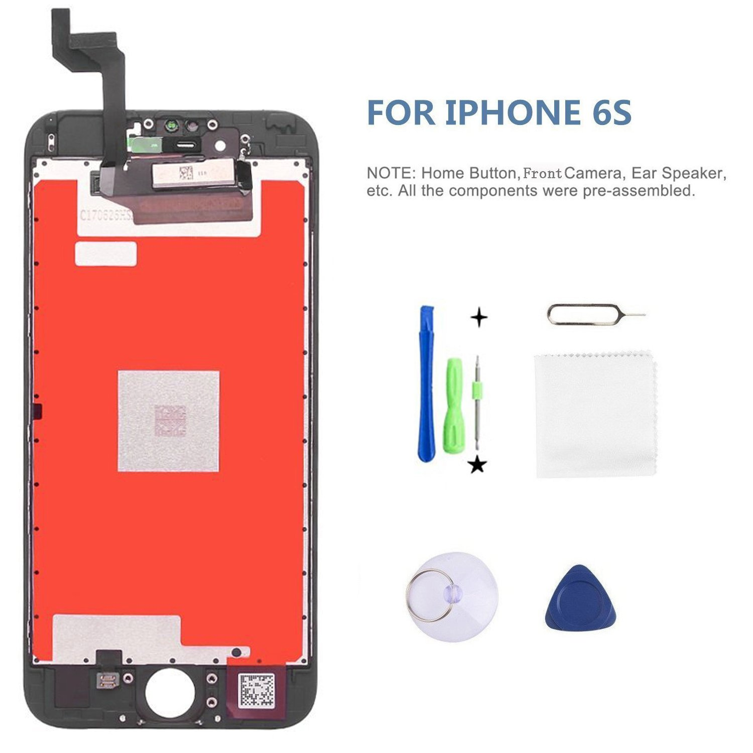 Screen Replacement LCD Display for iPhone 6s LCD Touch Screen Digitizer Replacement Full Assembly with Repair Tool Kit White Black (Black, IPhone 6s)