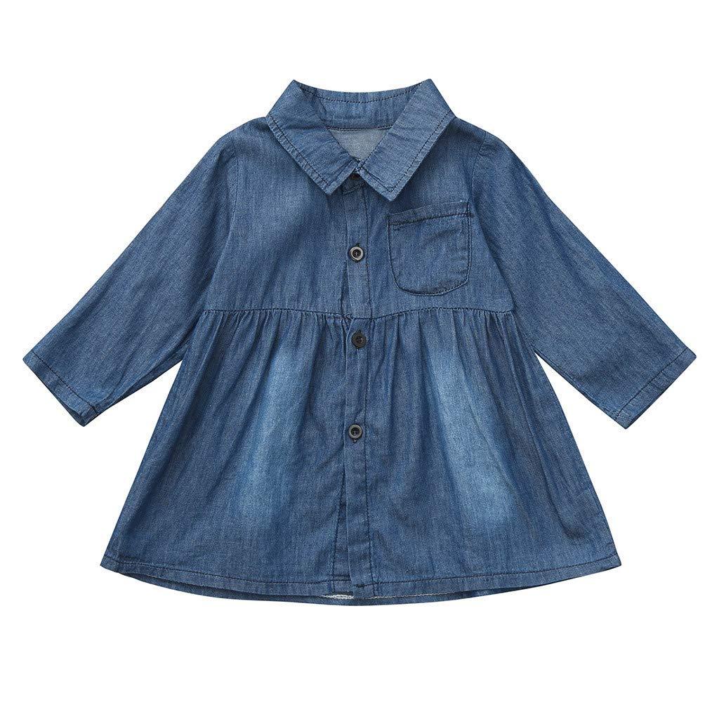 89927c4d26 Toddler Baby Girls Long Sleeve Solid Button Denim Shirt Dress Jean Dresses   Amazon.co.uk  Clothing
