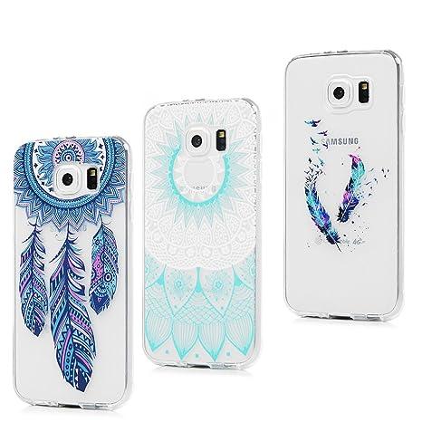 3x Funda para Samsung Galaxy S6, Carcasa Silicona Gel Case Ultra Delgado TPU Goma Flexible Cover para Samsung Galaxy S6 - Totem + Pluma De Color + ...