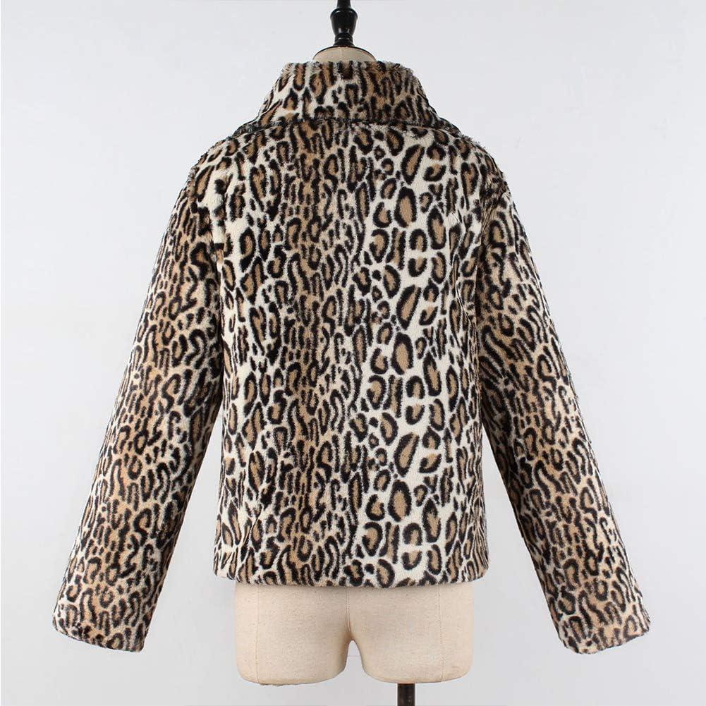 XZMY Women Leopard Print Faux Fur Coat Long Sleeve Short Lapel Jacket Outerwear