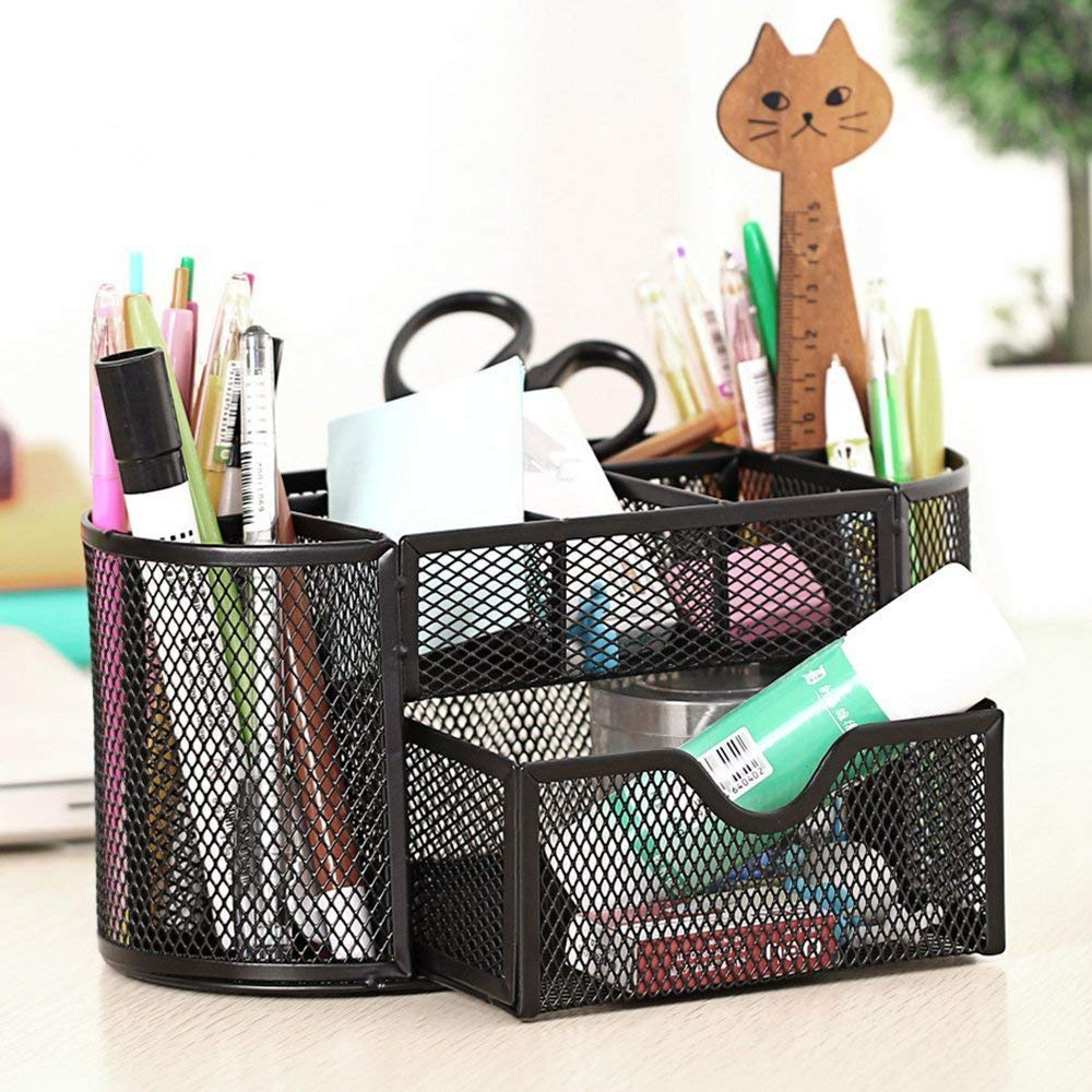 VMS OfficeBuddy Metal Mesh Stationery Holder/Desk Organizer Stand with 8 Compartments and 1 Drawer for Home and Office Accessories (Black) (9 Compartments) (Pack of 2) (B0832VWL8B) Amazon Price History, Amazon Price Tracker