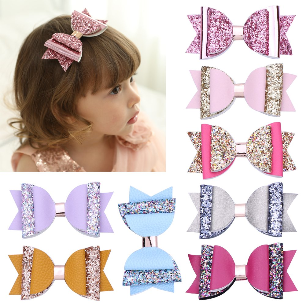 DANMY Girls Hair Clips Shiny Diamond Crown Children Hairpin Princess Barrettes Hair Accessories (Bow 8pcs(as Shown))