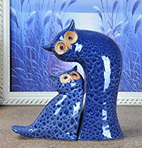 YZDSBD Statues Figurines Sculptures,Owl Lovers Figurines Abstract Porcelain Handmade Ceramics Bird of Minerva Sculpture Decoration Present Craftworks Accessories