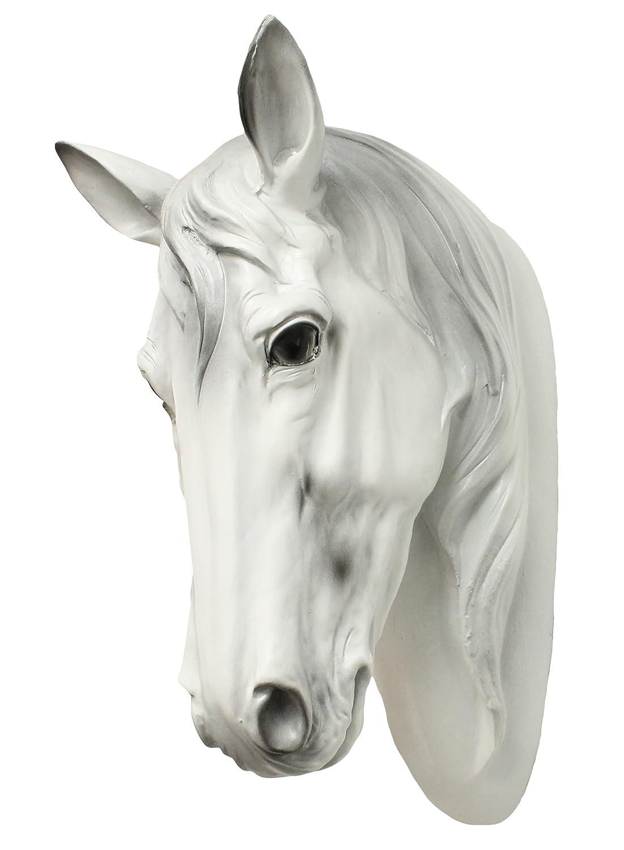 White horse figurine horse head bust decorative animal stallion mare amazon co uk garden outdoors