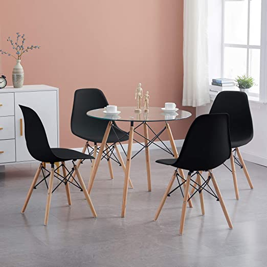 H J Wedoo Dining Room Table And Chairs Set Modern Round Glass Dining Table With 4 Chairs Suitable For Dining Room Kitchen Living Room Transparent White Amazon De Kuche Haushalt