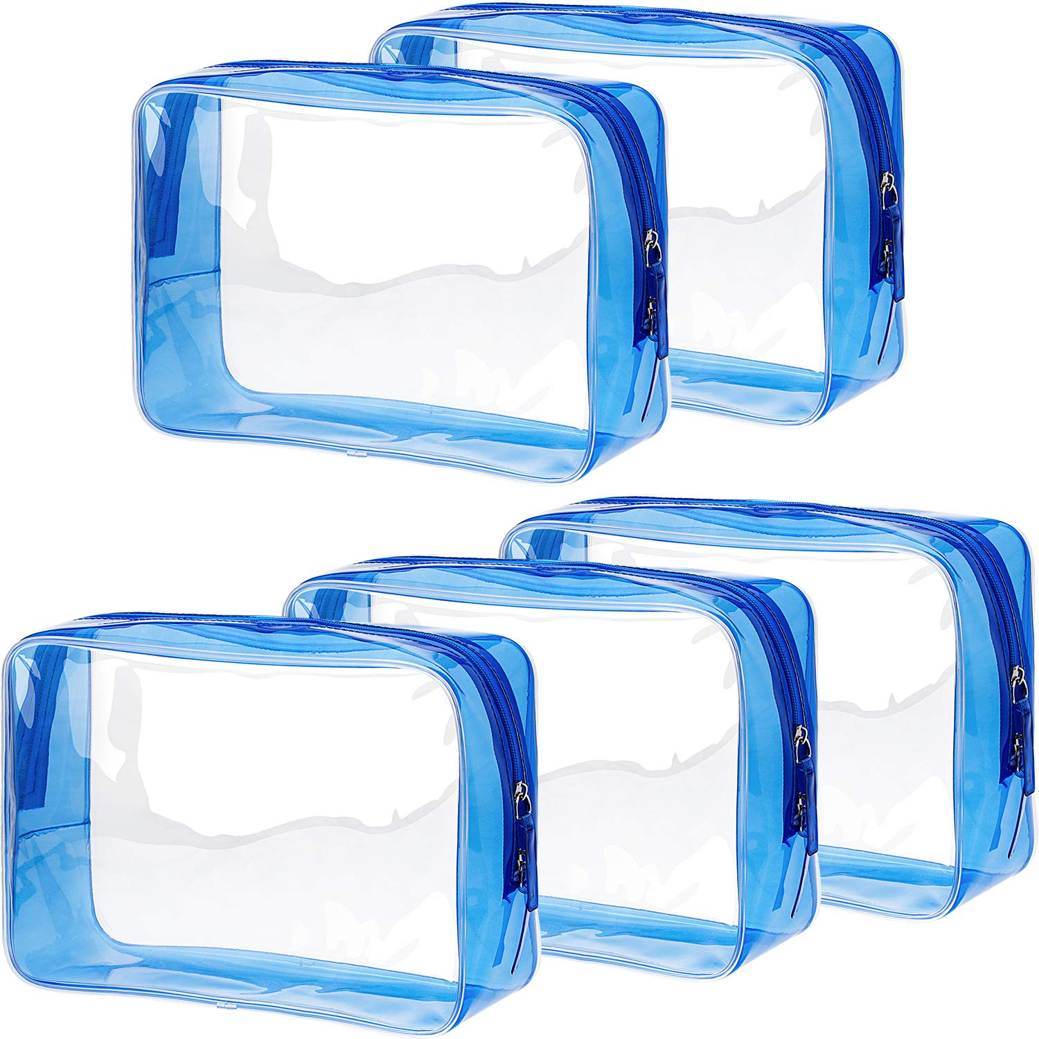 Pangda 5 Pack Clear PVC Zippered Toiletry Carry Pouch Portable Cosmetic Makeup Bag for Vacation, Bathroom and Organizing (Large, Blue)