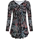 Dubocu Women's Button Front Pleated Flared Comfy Loose Tunic Top Shirt Blouse