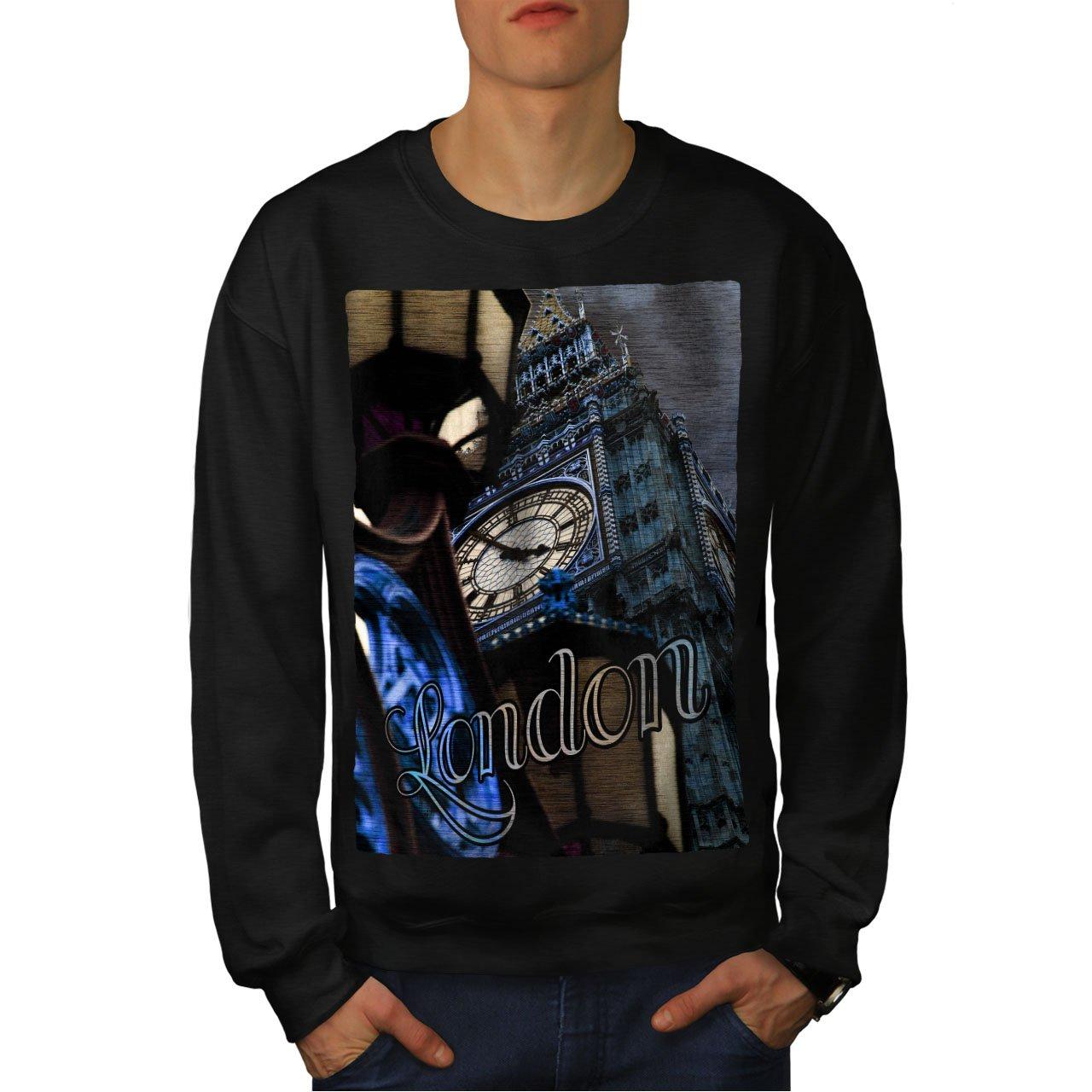 wellcoda Clock Urban Photo London Mens Sweatshirt Big Casual Jumper