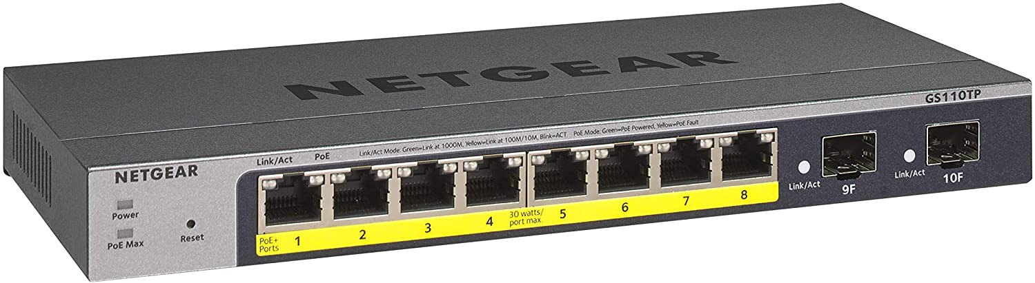 NETGEAR 8-Port Gigabit Ethernet Smart Managed Pro PoE Switch (GS110TP) - with 8 x PoE+ @ 55W, 2 x 1G SFP, Desktop
