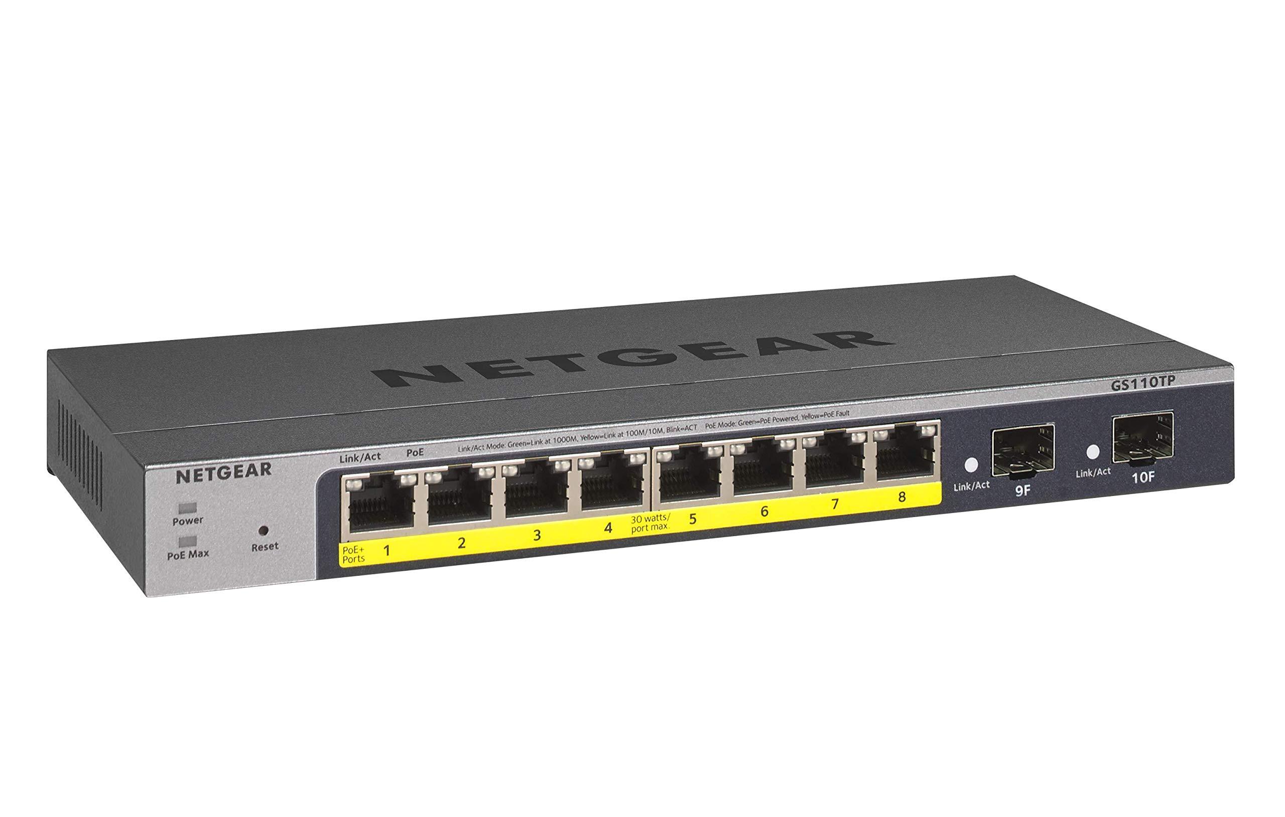 NETGEAR 8-Port Gigabit Ethernet Smart Managed Pro PoE Switch (GS110TP) - with 8 x PoE+ @ 55W, 2 x 1G SFP, Desktop by NETGEAR