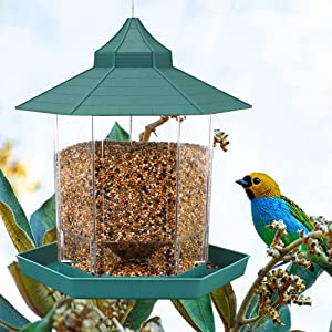 HIPPIH Wild Bird Feeder Hanging for Garden Yard Outside Decoration, Hexagon Shaped with Roof Hanging Panorama Bird Feeder for Mix Seed Blends, Classic Green