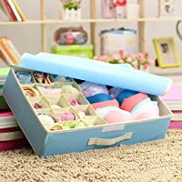 Styleys 15+1 Multi Compartment Cell Foldable Storage Box/Closet Organizer/Non-Smell Drawer Organizer, 15 grids + 1 for Drawer Divider for Socks, Bra, Panty, Tie, Scarf, etc - Color - Blue