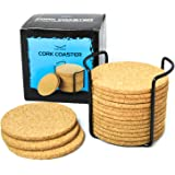 "Natural Cork Coasters for Drinks - 16pc Set with Metal Holder Storage Caddy - Absorbent Round Edge 4"" Absorbent, Cups & Mugs, Eco-Friendly, Heat-Resistant, Reusable Saucers for Cold Drinks, Wine Glass"