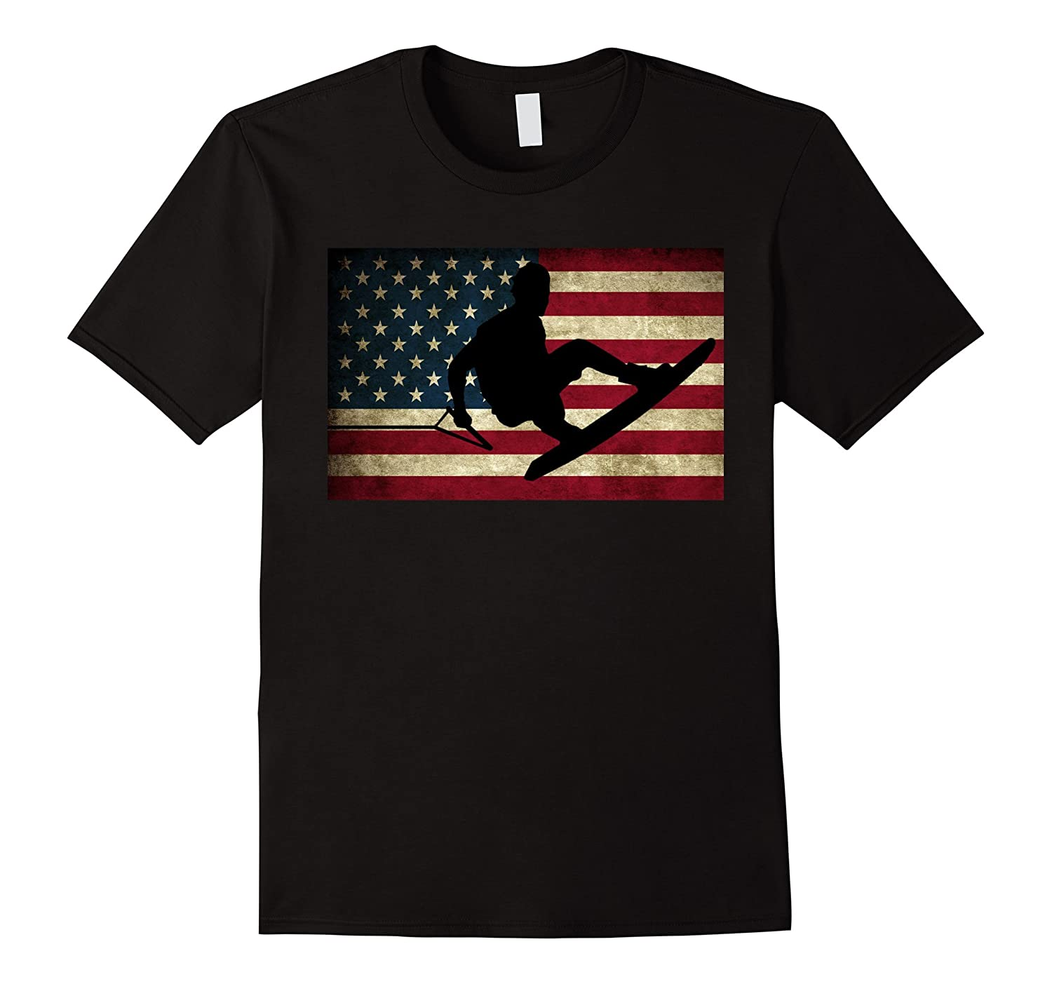 Wakeboarding T Shirt Wakeboarder T-Shirt USA Flag Tee-BN