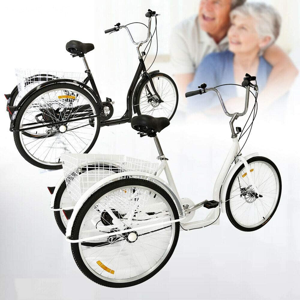 Triciclo para adultos, 6 velocidades, 26 pulgadas, triciclo para adultos, con cesta de la compra, color blanco