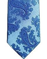 Mens Light Blue Jacquard Woven Paisley Tie Necktie and Handkerchief Set