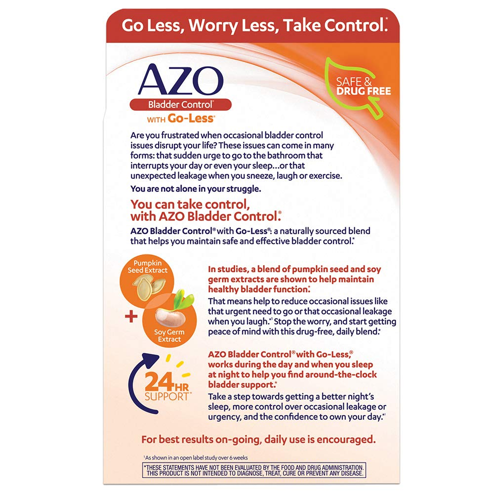 Azo Bladder Control With Go Less Daily Supplement Helps Reduce Occasional Urgency Helps