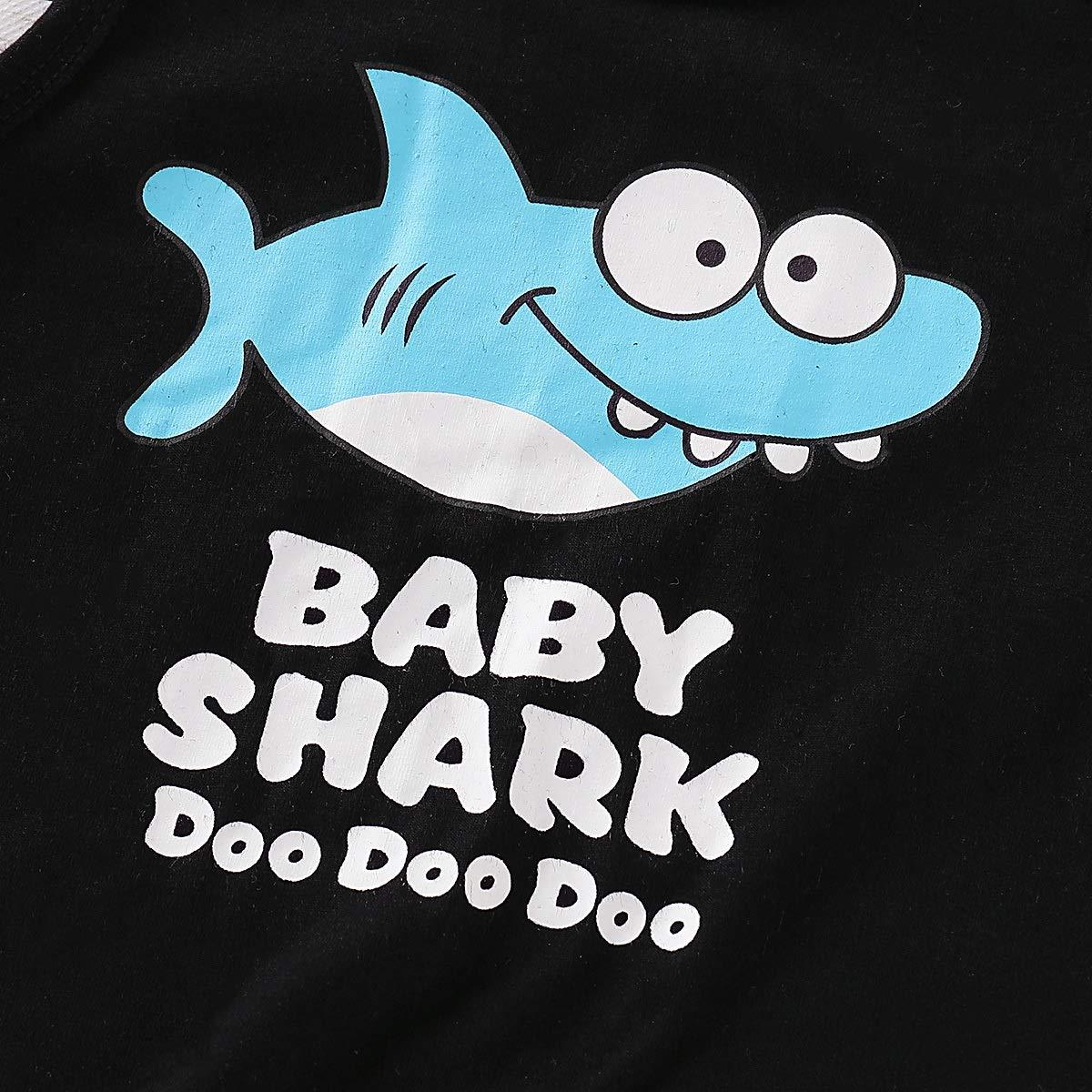 Puseky 2 Pezzi//Set Bambino Baby Boy Letters Doo Shark Stampato Canotte Pantaloncini Blu Abiti