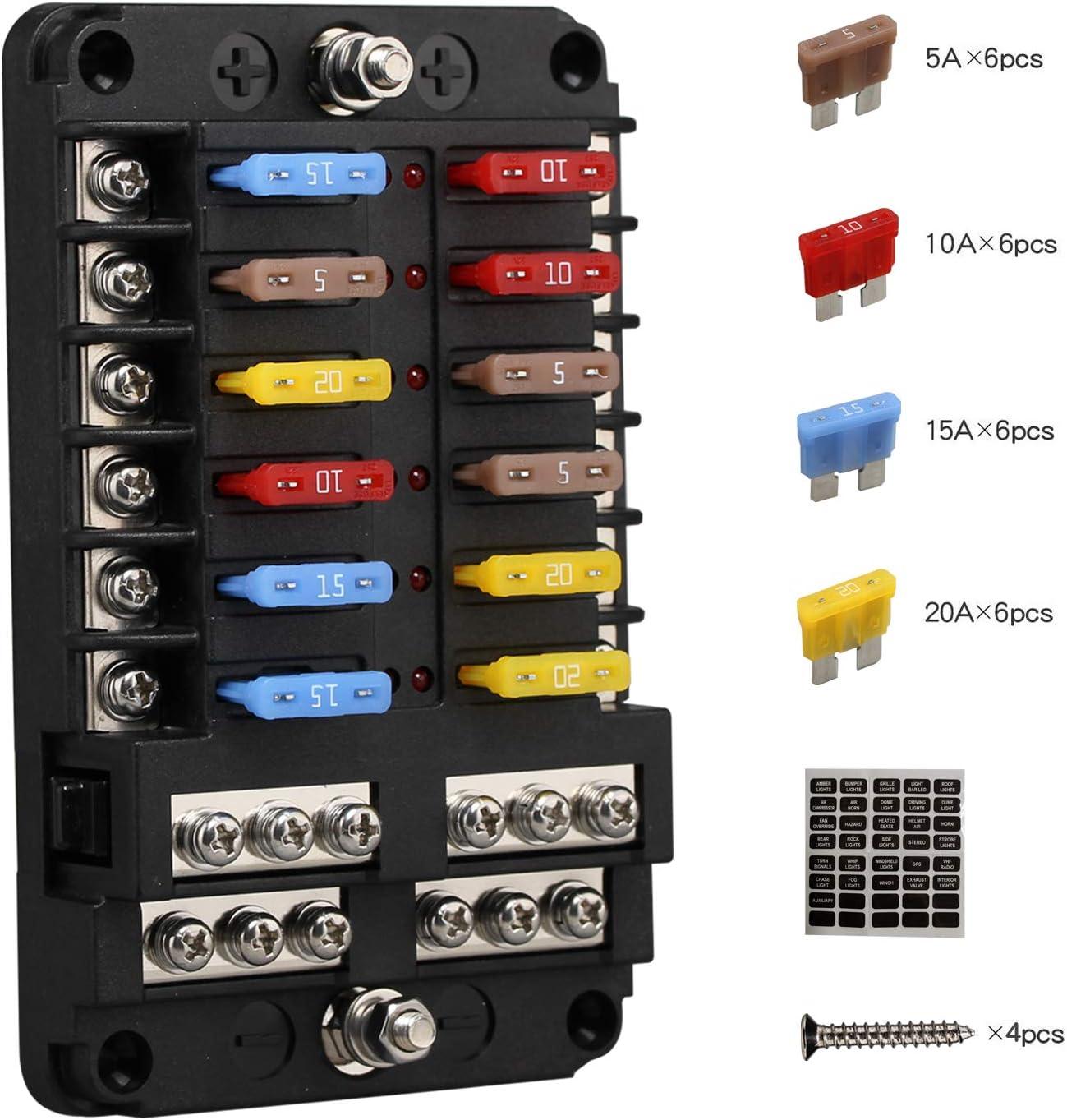 Porta Fusibles Plano ATC/ATO, Caja Fusibles Coche ENDARK, Cuadro Fusibles Coche de 12 vías con Indicador LED de Bus Negativo para coche, barco, furgoneta, SUV