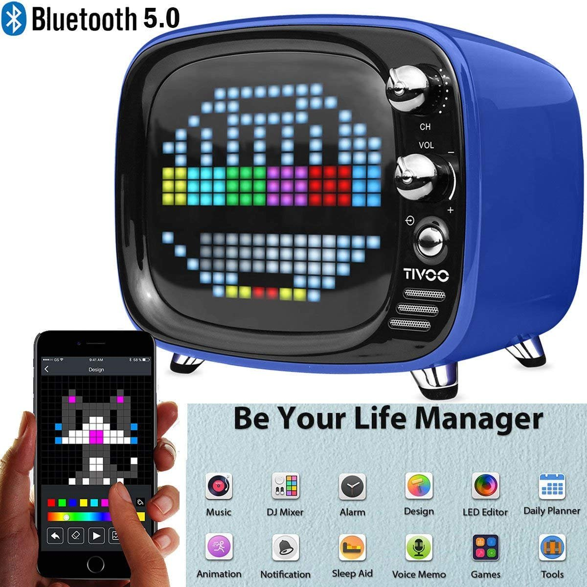 Pixel Art Bluetooth Speaker - AICase Tivoo Timebox Retro Pixel Smart Art DIY Box. Full RGB Programmable LED by APP Control,Sleep-aid Alarm Clock Pixel Art Creation Animation Bluetooth Speaker (Green)
