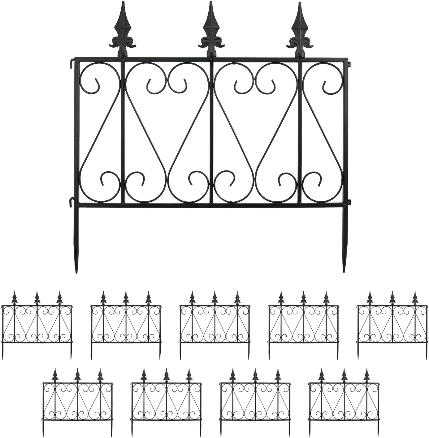 "Finderomend 10 Pack Garden Fence Rustproof Metal Wire Fencing Decorative Garden Fence Border for Landscape Patio Flower Bed, Pets, Barrier Gate Outdoor Black (24"" x 24)"