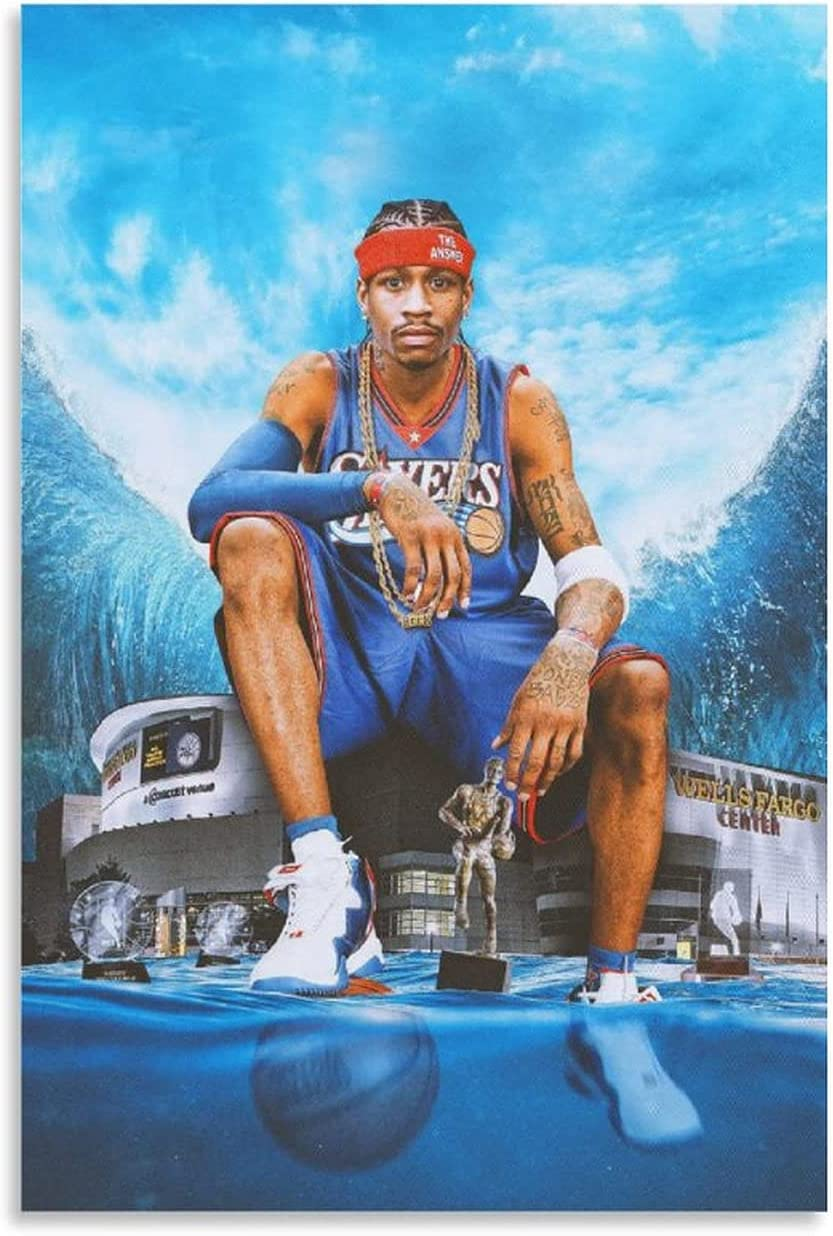Rumlly Hang A Picture Posters Canvas Wall Art Allen EzailIverson Cool Poster Legendary Basketball Player Wall Decor Home Decoration Painting Oil Painting Unframe-style1 12×18inch(30×45cm)