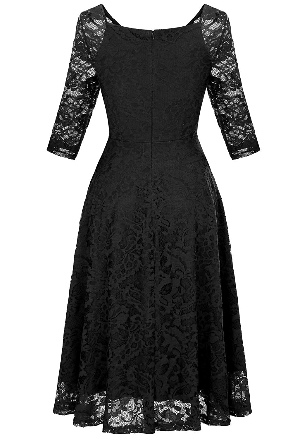 dd210e95d3f Dressystar Long-Sleeve A-Line Lace Bridesmaid Dress Midi for Wedding Formal  Party at Amazon Women s Clothing store