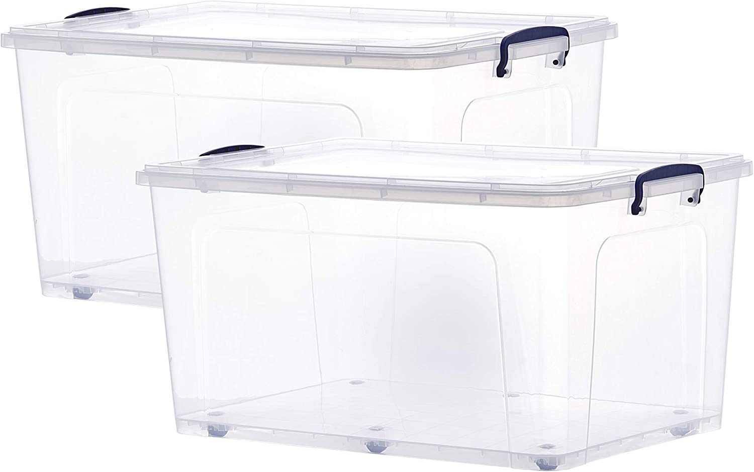 Superio Storage Containers With Wheels 44 Qt. (2 Pack), Stackable Large Storage Containers With Lids, Durable Latches