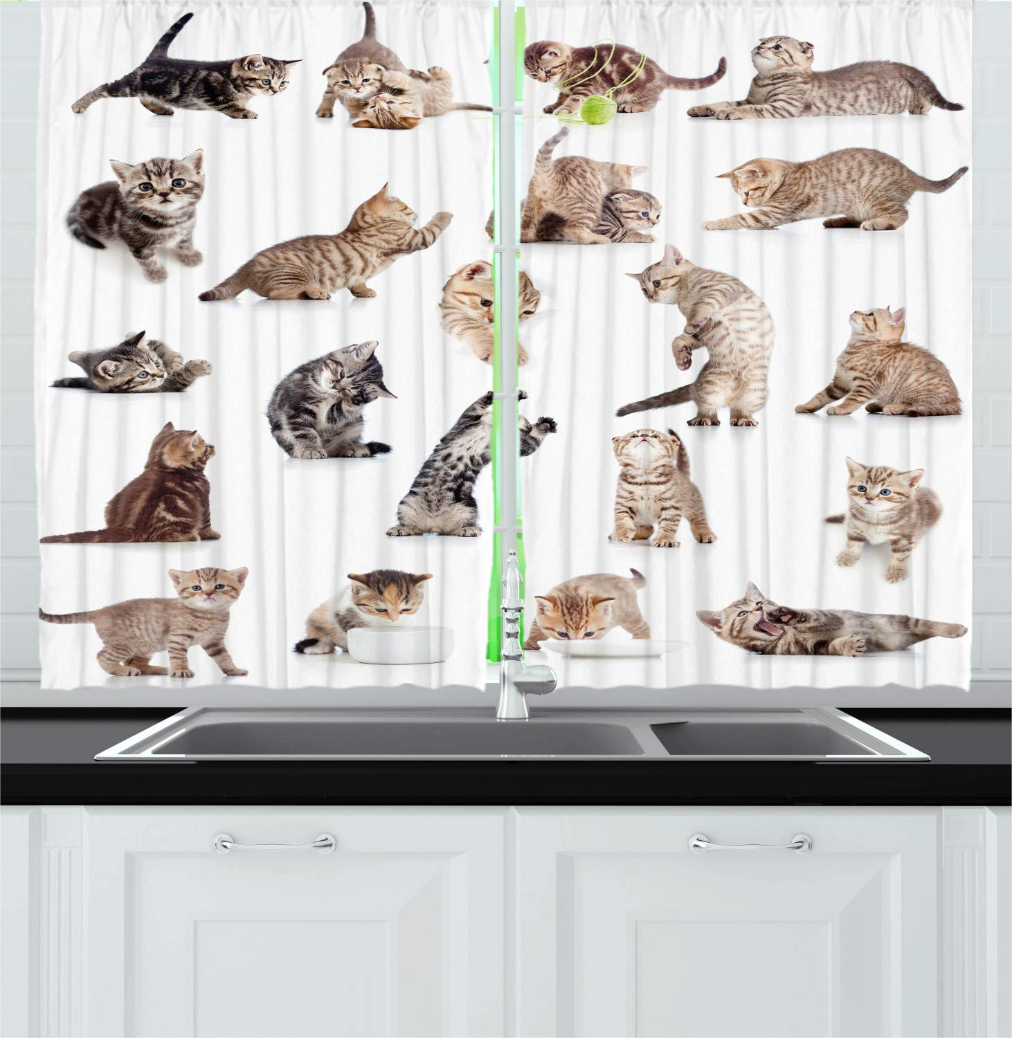 Ambesonne Cat Kitchen Curtains, Illustration of Funny Playful Cats on White Background Animals Kitten Pattern, Window Drapes 2 Panel Set for Kitchen Cafe, 55 W X 39 L Inches, Brown Black White