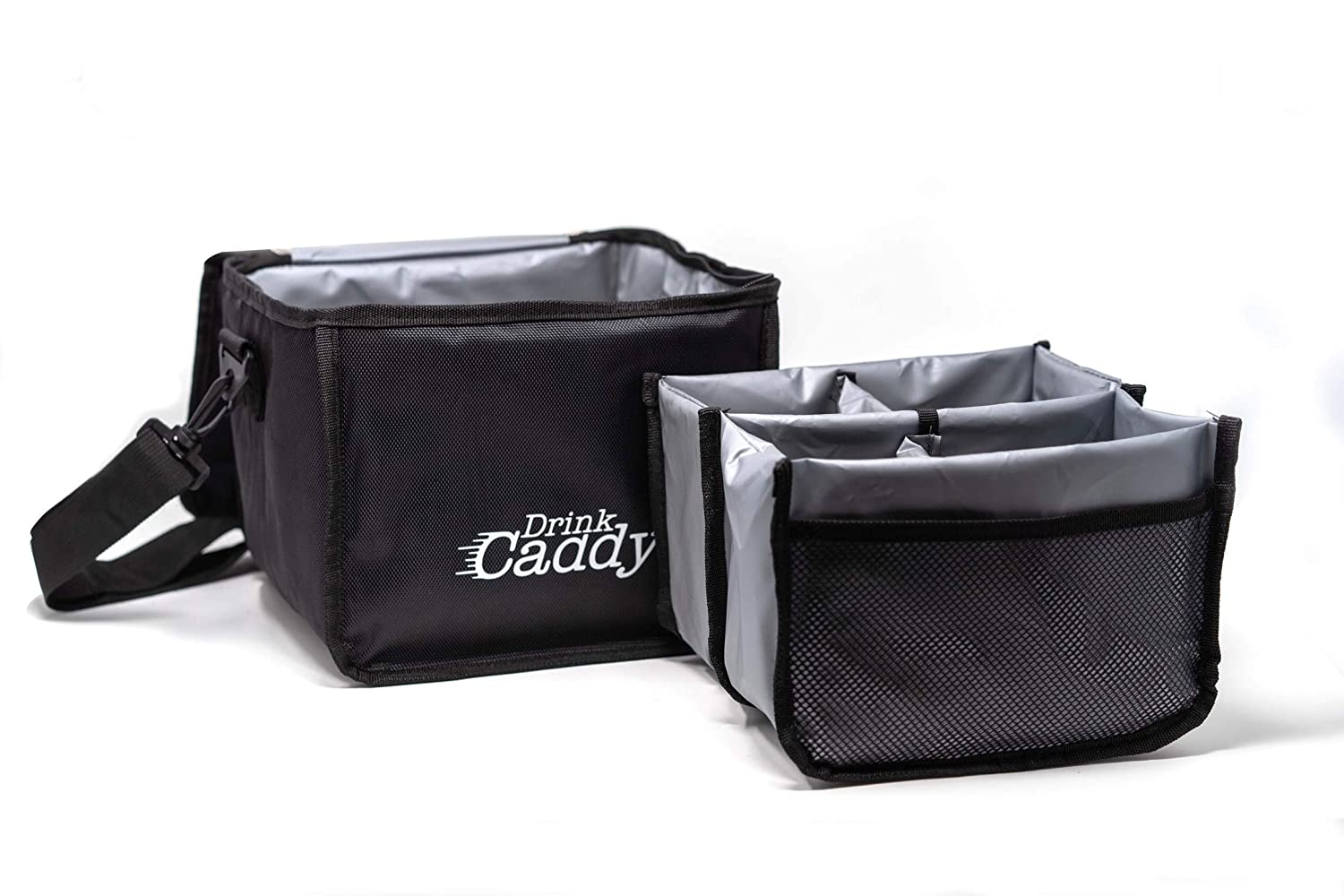 Drink Caddy Insulated Portable Drink Carrier - Reusable Coffee Cup Holder with Shoulder Straps Perfect for Food Delivery and Takeout - Easily Secures 4 Hot or Cold Beverages with Fold Over Closure.