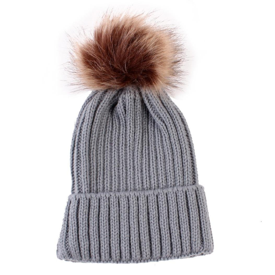 Anglewolf New Fashion Newborn Cute Unisex Baby 0~3 Years Old Kids Winter Hats Knitted Wool Hemming Hats Keep Warm Solid Beanie Cap