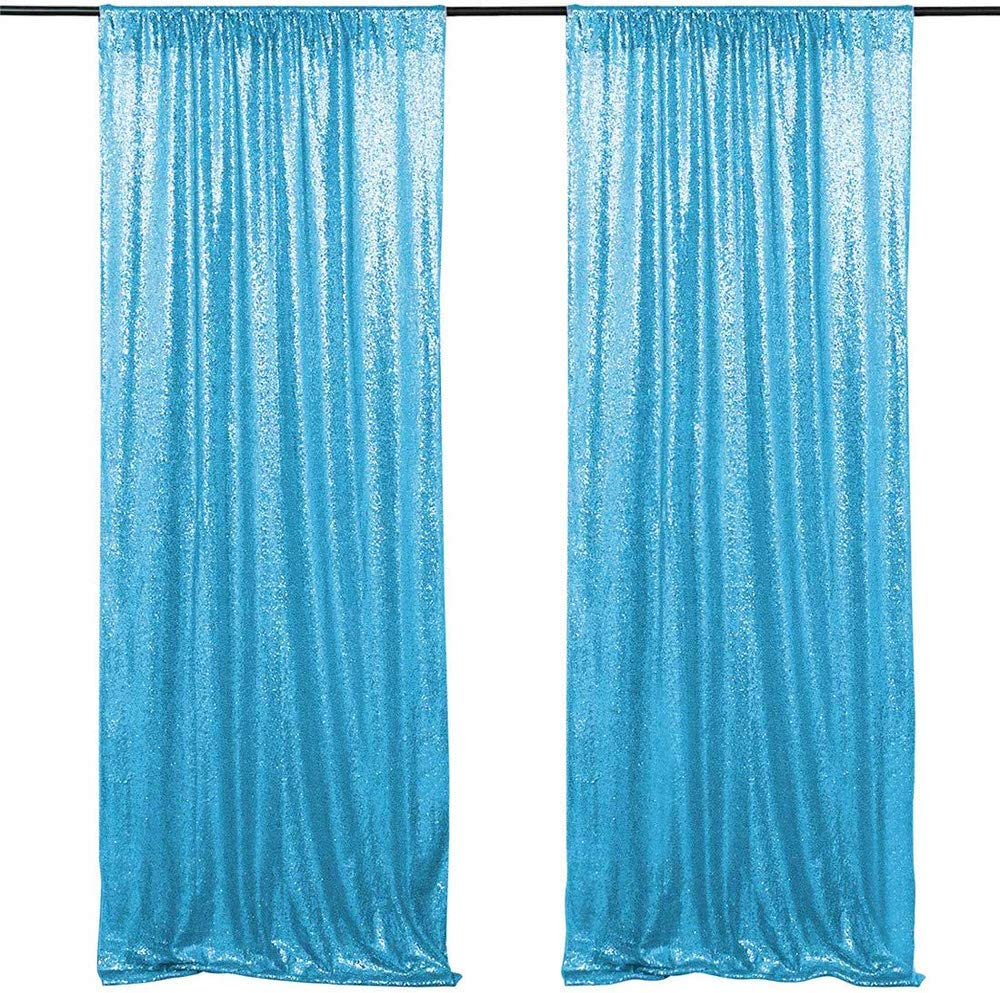 Shimmer Sequin Fabric Photography Backdrop Glitter Background Sequence Curtain 8Ft /× 8Ft, Navy Blue