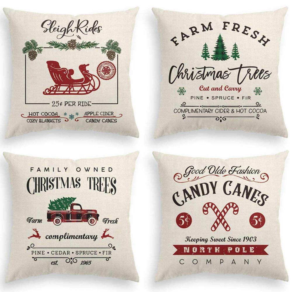 Christmas Print Pillow Covers
