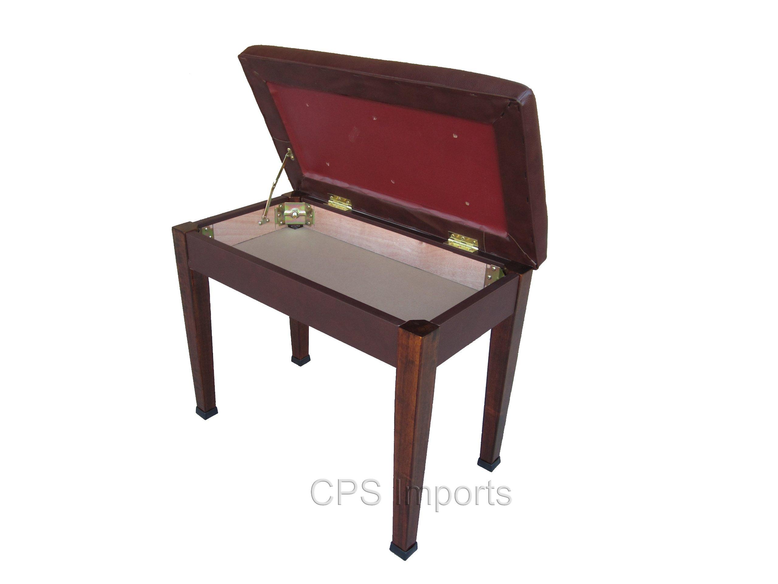Walnut Digital Piano Bench with Music Storage