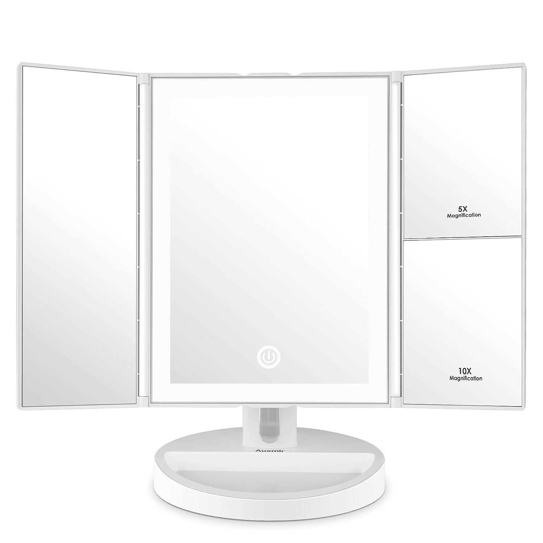 Miroir de beauté Auxmir avec lumière LED et miroir grossissant 5X / 10X, miroir de maquillage Maquillage Illuminé avec une lumière non éblouissante pour le maquillage, le rasage et le port des lentilles de contact, auto-off et interrupteur tactile pour l'o