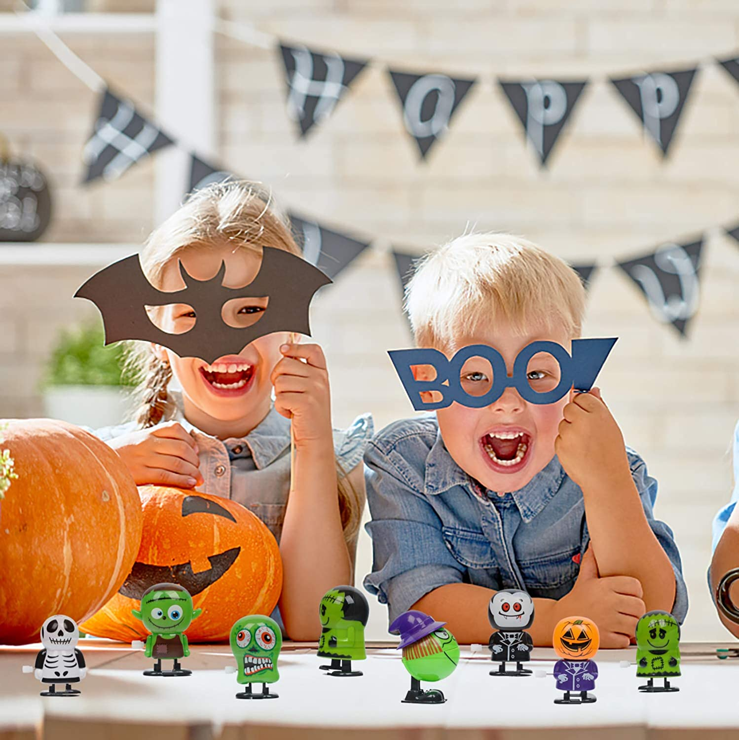 Goody Bag Filler Supply for Party Favors Halloween Props Trick Toy Clockwork Toy for Party Favors for Kids Babigo Halloween Wind Up Toys 12 PCS