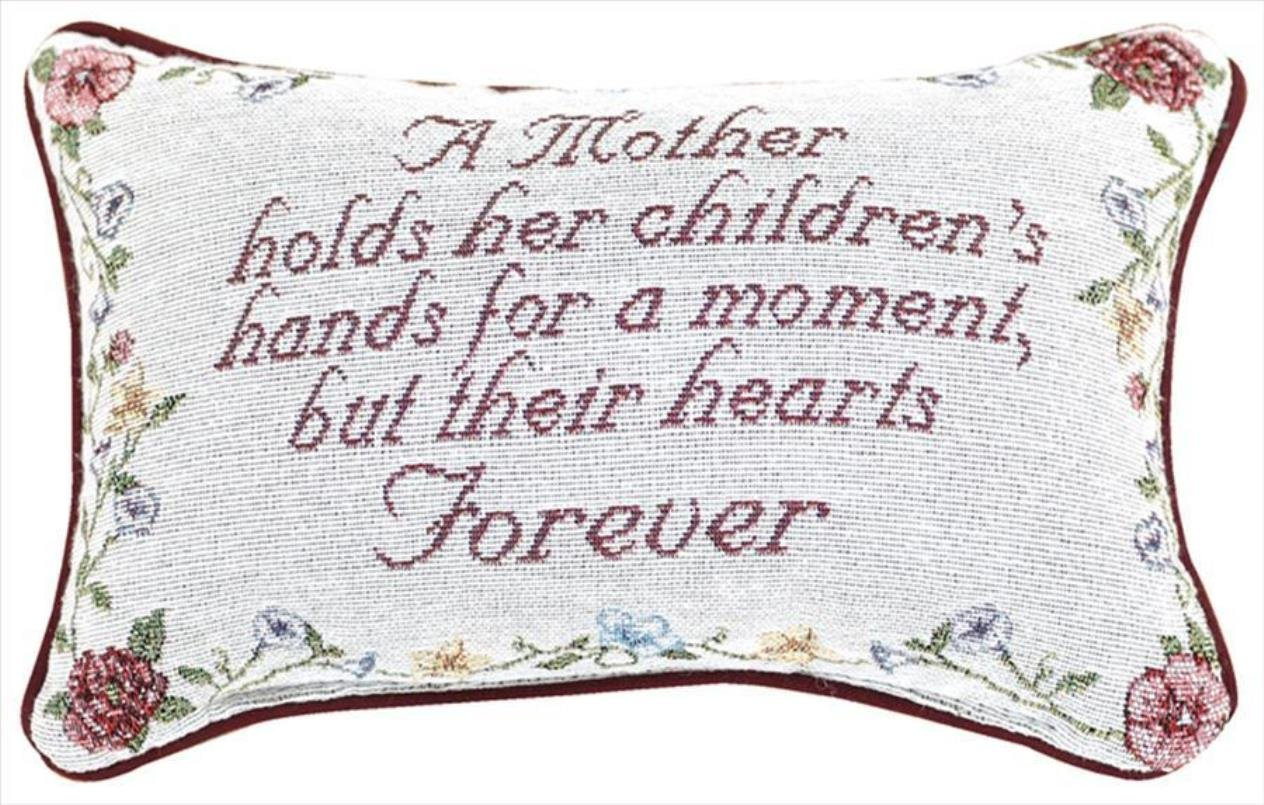 Manual 12.5 x 8.5-Inch Decorative Embroidered Word Pillow, A Mother Holds Her Children 83-NAT-TWMHCH