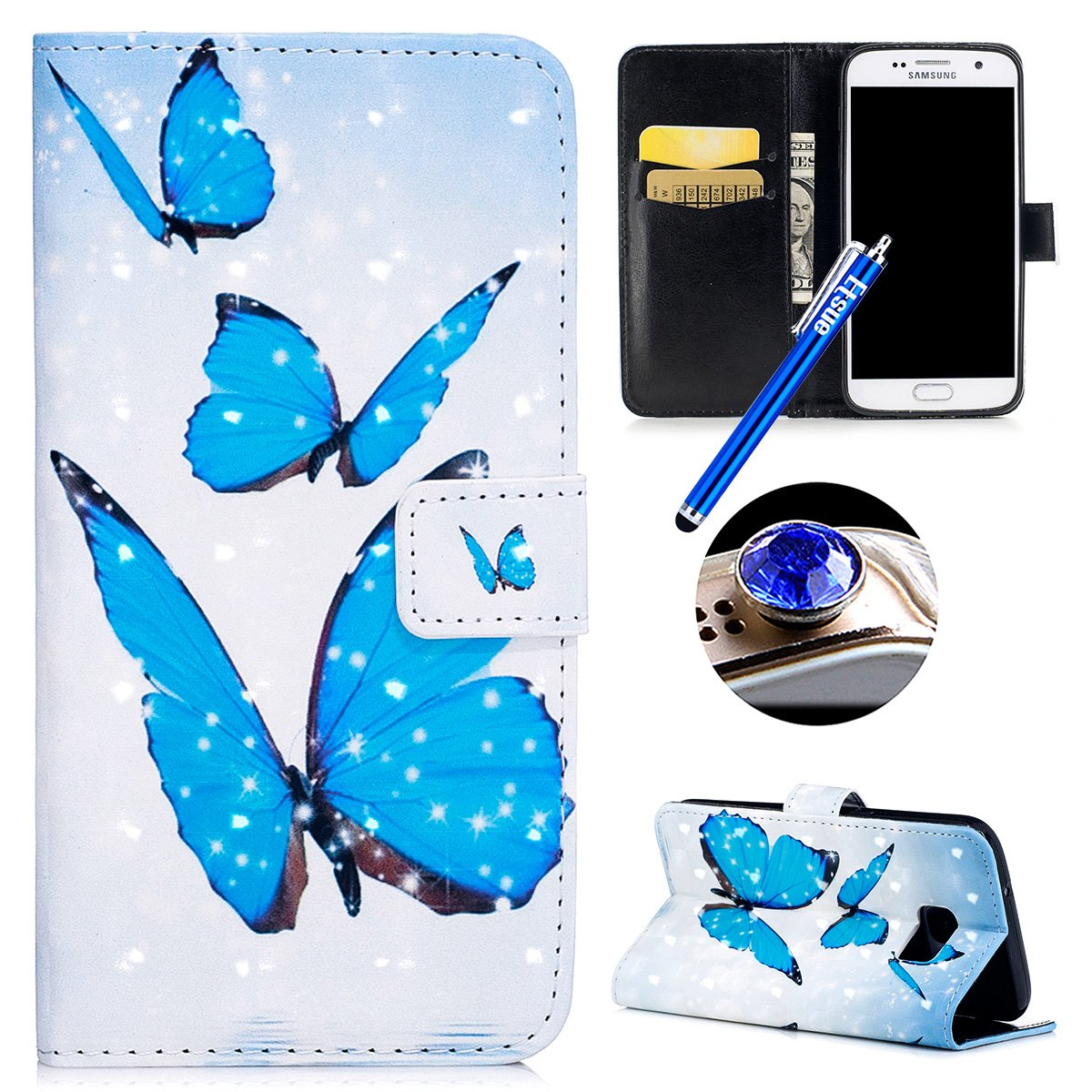Etsue Samsung Galaxy S7 Glitter Leather Case,Samsung Galaxy S7 Wallet Case, 3D Bling Glitter Colorful Elegant Pattern Flip Leather Wallet Case Cover Bookstyle Flip Folio Protective Cover [Card Slots][Stand Feature] for Samsung Galaxy S7+Blue Stylus Pen+Bli