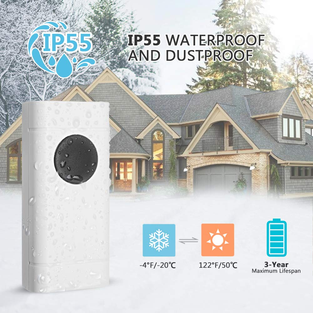 Waterproof Wireless Doorbell Kit- 1000 Feet Long Range, 4 Volume Levels, 52 Melodies Chimes, LED Flash Indicator for Home, Office, Shops, Classroom, Hospital