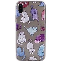 COZY HUT iPhone X/iPhone XS Custodia, Morbido TPU Cover Cristallo limpido Trasparente Slim Anti Scivolo Protezione Posteriore Case Antiurto per iPhone X/iPhone XS - Colore Cat